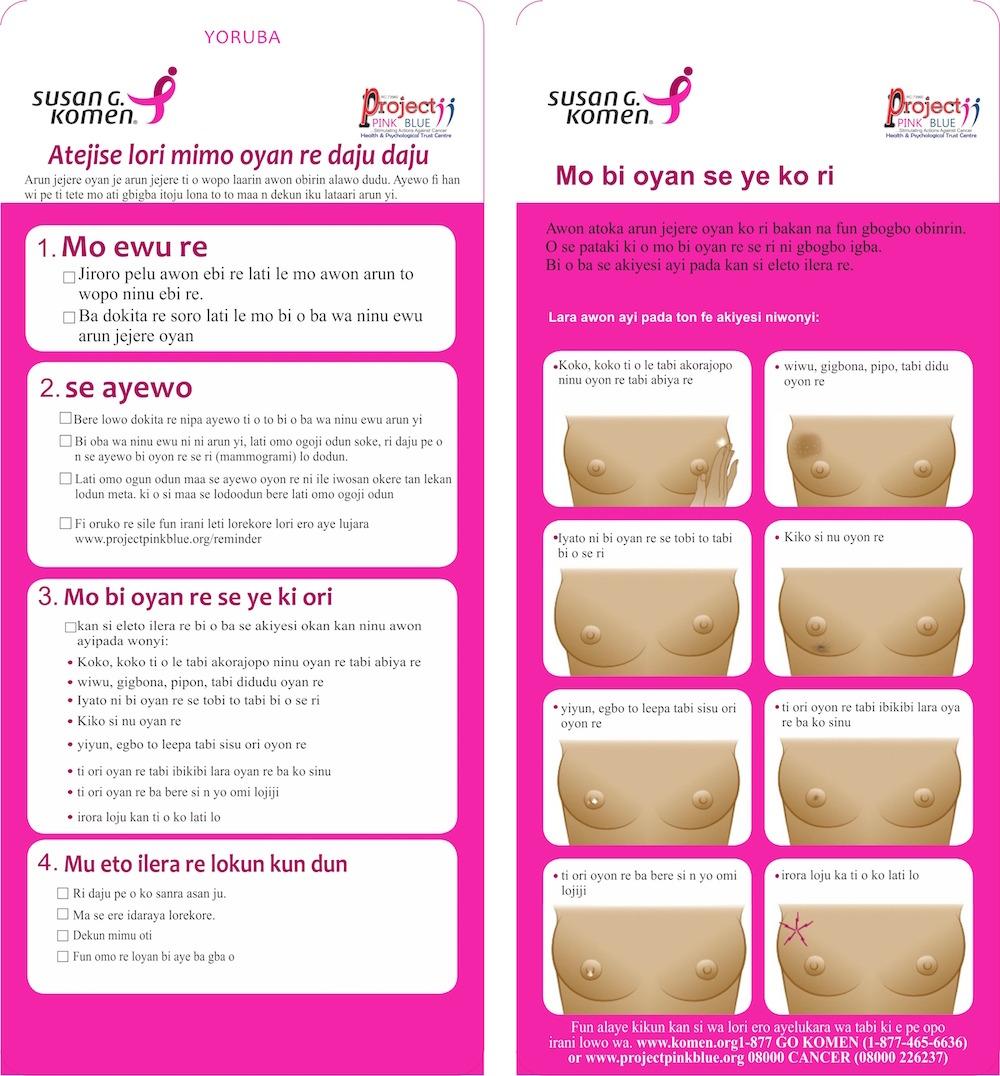 Yoruba Breast Self Awareness Material (BSAM) - Stimulating